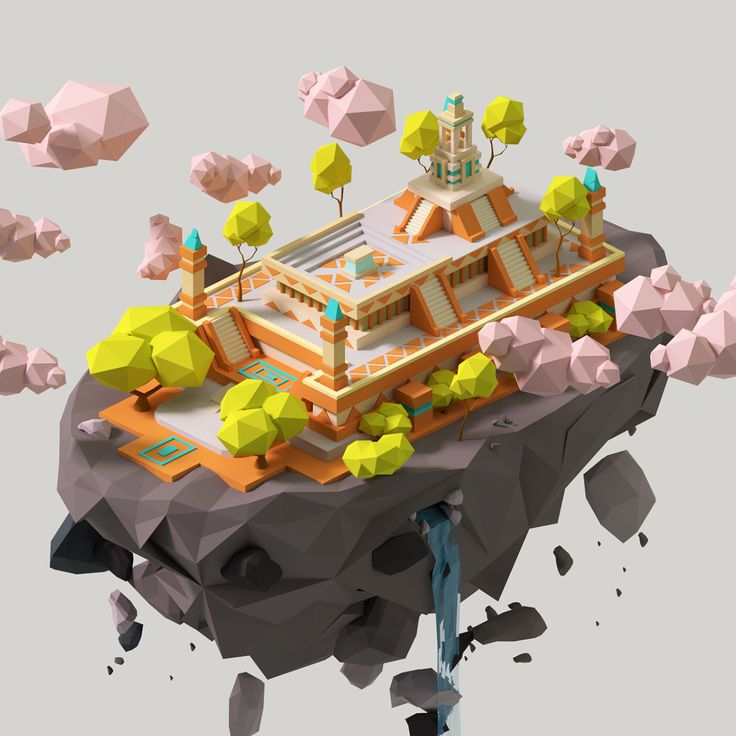 Low-poly Floating Building